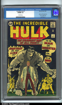The Incredible Hulk #1 (Marvel, 1962). Origin and first appearance of the Hulk. Jack Kirby is the artist on this issue a...
