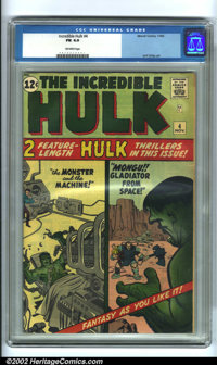 The Incredible Hulk #4 (Marvel, 1962). This issue features a unique split-panel cover design, something used often on Ma...