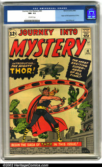 Journey into Mystery #83 (Marvel, 1962). An outstanding high-grade copy of this Marvel key, featuring the origin and fir...