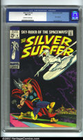 Silver Age (1956-1969):Superhero, The Silver Surfer #4 (Marvel, 1969). The great clash between Thor and the Silver Surfer happens right here in this action-pa...