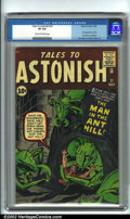 """Silver Age (1956-1969):Superhero, Tales to Astonish #27 (Marvel, 1962). First appearance of the Ant-Man and the start of the """"superhero"""" run in Tales to Ast..."""
