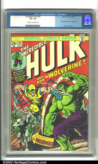 The Incredible Hulk #181 (Marvel, 1974). The first true appearance of the ultra-popular Canadian superhero Wolverine, wi...