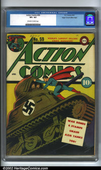 Action Comics #59 Mile High pedigree (DC,1943). One of the few DC war covers with Superman attacking the Nazis, a beauti...