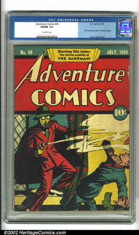 Adventure Comics #40 (DC, 1939). Featuring the first conceived story of Sandman, and a truly classic cover showing us wh...