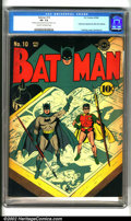 "Golden Age (1938-1955):Superhero, Batman #10 (DC, 1942). An inventive ""artist"" cover by Jerry Robinson highlights this classic early issue of Batman, whic..."