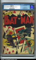 Golden Age (1938-1955):Superhero, Batman #11 (DC, 1942). One of the most innovative early Batman covers, this spectacular and classic image (by Fred Ray a...