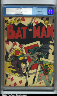 Batman #11 (DC, 1942). One of the most innovative early Batman covers, this spectacular and classic image (by Fred Ray a...