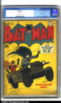 Golden Age (1938-1955):Superhero, Batman #12 (DC, 1942). Terrific artwork by Jerry Robinson (cover), Jack Burnley, and Bob Kane highlight this, the first anni...