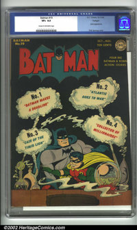 """Batman #19 Twilight pedigree (DC, 1943). A nice-looking copy of this fun issue, which features a Joker appearance (""""..."""