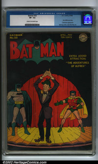 Batman #22 (DC, 1944). A fantastic Dick Sprang cover spotlights the first Alfred solo story in an issue that also showca...