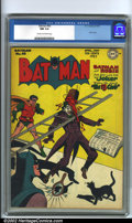 Golden Age (1938-1955):Superhero, Batman #40 (DC, 1947). A truly terrific Joker cover by Jack Burnley (with inks by Charles Paris) tops off this fast-paced is...