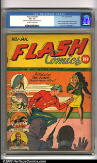 Flash Comics #1 (DC, 1940). One of the classic DC keys, this introductory issue features the first appearance of Hawkman...