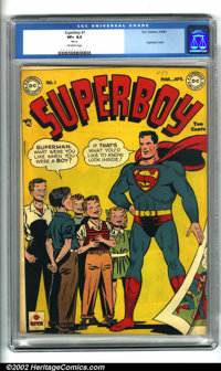 Superboy #1 (DC, 1949). A beautiful copy of a key DC issue. During the post World War II period, the popularity of super...