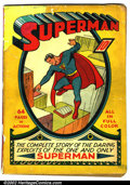 Golden Age (1938-1955):Superhero, Superman #1 (DC, 1939). This Golden Age key marks the first time a comic book was devoted to a single character, a radical i...