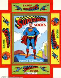 Superman Socks Uncut box (DC, 1949). We have never seen one of these before. It is an uncut sheet for the box top of Sup...