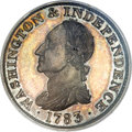 Colonials, 1783 1C Washington & Independence Cent, Draped Bust, Silver Restrike, Engrailed Edge PR65 PCGS....