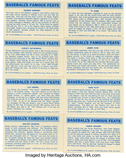1972 Fleer Famous Feats Baseball Complete Sets Lot Of 2