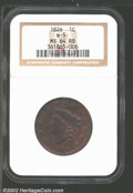 "1826 1C MS64 Red and Brown NGC. Mintage: 1,517,425. The current Coin Dealer Newsletter (Greysheet) wholesale ""bid&q..."