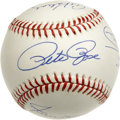 Autographs:Baseballs, 3,000 Hit Club Baseball Signed by 8. Very few men have eclipsed the3,000 hit mark for their professional baseball careers....