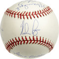 Autographs:Baseballs, 300 Win Club Multi-Signed Baseball. Pristine OAL (Brown) baseballhas the signatures of eight pitchers who have eclipsed th...