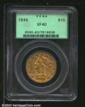 Liberty Eagles: , 1844 $10 XF40 PCGS. The 1844 No Motto Ten is an ...