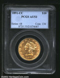 Liberty Eagles: , 1891-CC $10 AU53 PCGS. Mintage: 103,732. ...