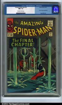 The Amazing Spider-Man #33 (Marvel, 1966). CGC NM+ 9.6, off-white to white pages. Overstreet 2001 NM 9.4 value = $210...