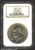 """Eisenhower Dollars: , 1977 $1 MS65 NGC. Mintage: 12,596,000. The latest Coin World """"..."""
