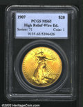 High Relief Double Eagles: , 1907 $20 High Relief, Wire Rim MS65 PCGS. Mintage: 11,250. Th...