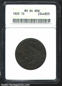 1820 1C Large Date MS64 Brown ANACS. Intricately detailed in the centers with some softness noted on the obverse stars...