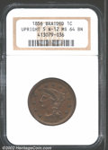 1856 1C Upright 5 MS64 Brown NGC. N-12, High R.1. Well struck with rich chocolate-brown surfaces with a few tiny dark sp...