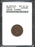 Indian Cents: , 1909-S 1C--Cleaned--ANACS. AU Details, Net XF40. The obver...