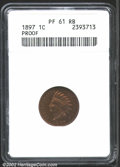 Proof Indian Cents: , 1897 1C PR61 Red and Brown ANACS. Bright and sparkling in ...