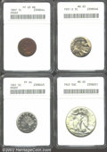 Proof Indian Cents: , 1897 1C Cent PR63 Red and Brown ANACS; 1901 Nickel PR64 ANAC...