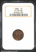 Proof Indian Cents: , 1898 1C PR65 Brown NGC. The needle sharp strike leaves lit...