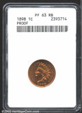 Proof Indian Cents: , 1898 1C PR63 Red and Brown ANACS. The obverse has a bright...
