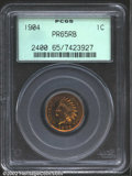 Proof Indian Cents: , 1904 1C PR65 Red and Brown PCGS. Outrageously toned with i...