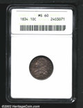 Bust Dimes: , 1834 10C Large 4 MS60 ANACS. JR-1, R.1. Sharply struck wit...