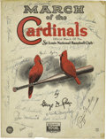 Autographs:Others, 1930's St. Louis Cardinals Multi-Signed Sheet Music with DeanBrothers, Medwick. The colorful cover of this 1937 sheet musi...