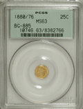 California Fractional Gold: , 1880/76 25C Indian Round 25 Cents, BG-885, R.3, MS63 PCGS. PCGSPopulation (46/71). NGC Census: (5/11). (#10746)...