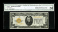 Small Size:Gold Certificates, Fr. 2402* $20 1928 Gold Certificate. CGA Gem Uncirculated 66.. Four ample margins reveal parts of two paper guide line marke...