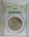 Bust Half Dollars: , 1819/8 50C Large 9 MS62 PCGS. O-102, R.2. The date shows a large,broad 9; all three Ts on the reverse are defective at the...
