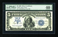 Large Size:Silver Certificates, Fr. 280 $5 1899 Silver Certificate PMG Extremely Fine 40 EPQ. This example is truly a tale of two sides. The face clearly lo...
