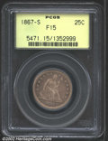 Seated Quarters: , 1867-S 25C Fine 15 PCGS. Always a popular and in-demand is...