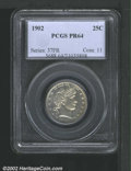 Proof Barber Quarters: , 1902 25C PR64 PCGS. Lightly toned with intermittent, dusky...