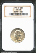 Washington Quarters: , 1935-D 25C MS66 NGC. This gorgeous Gem is delicately overl...