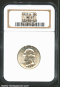Washington Quarters: , 1937-D 25C MS67 NGC. Minimally patinated, both sides are s...
