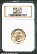 Washington Quarters: , 1937-S 25C MS67 NGC. The otherwise lilac-silver surfaces e...