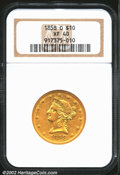 Liberty Eagles: , 1858-O $10 XF40 NGC. Portions of the original prooflike lu...