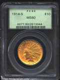 Indian Eagles: , 1914-S $10 MS60 PCGS. Lustrous with a good strike and brig...
